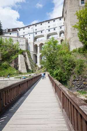 The multi-storey Cloak Bridge or Mantelbruecke in Cesky Krumlov, Czech Republic