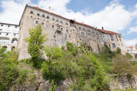 View up towards Schwarzenberg Palace in historic Cesky Krumlov in the Czech Republic