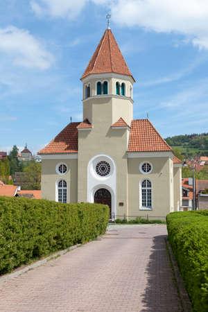 역사적인 Cesky 크룸 로프, 남쪽 보헤미아, 체코 공화국에서 유대인 회당의 외관보기