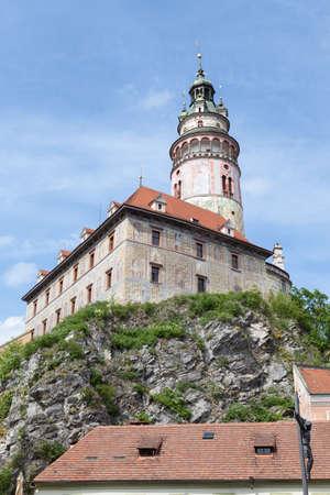 역사적인 타운의 Cesky 로프, 체코 공화국에서에서 벨 타워의 아름 다운 경치