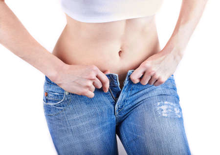 Overweight woman wearing jeans Stock Photo - 18126928