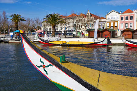 Aveiro gondola, view from the canal, Portugal