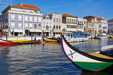 Aveiro city and canal with boats, Portugal