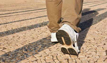 Hiking boot closeup in Porto, Portugal Stock Photo - 18127260