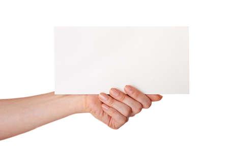 hand holding a white card on a white background Stock Photo - 18126949