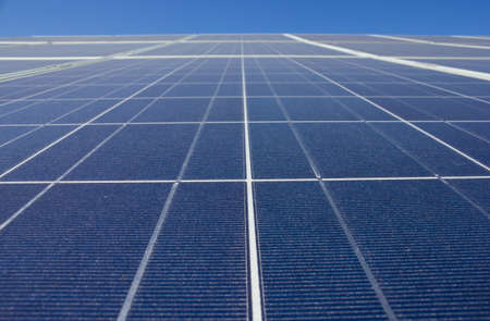 nonpolluting: Solar panel close up against a blue sky