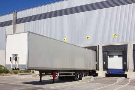 Single trailer of truck at loading docks  photo