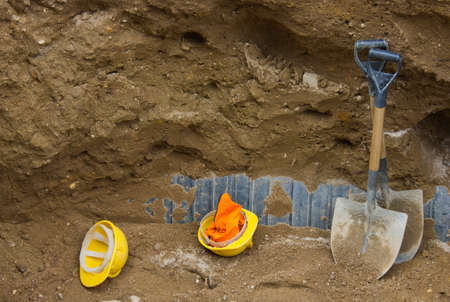 open trench: An open trench on a construction site Stock Photo