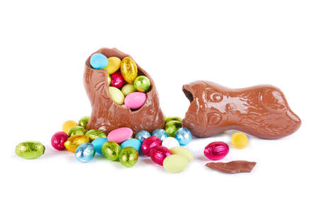 easter chocolate eggs inside Chocolate Easter Rabbits photo