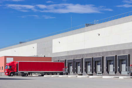 Single trailer at the loading docks  Stock Photo