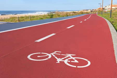 bikers lane sign on the asphalt ground Stock Photo - 18156401