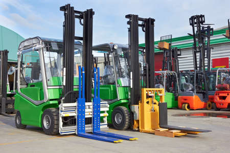 Electric forklift stackers in a row Stock fotó - 18156672