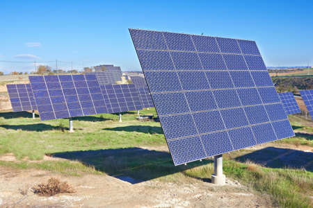 nonpolluting: Solar Panels on a big field