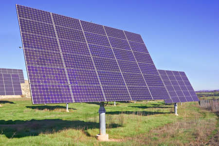 nonpolluting: Solar Panels on a green field