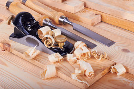 Woodworking on work bench with shavings  Stock Photo