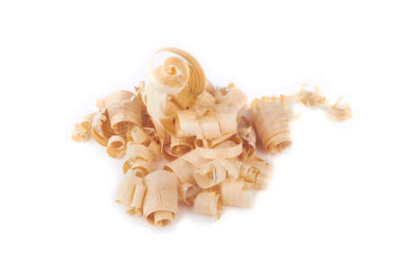 Wood shavings, beautifully curled in to a spiral isolated on white photo