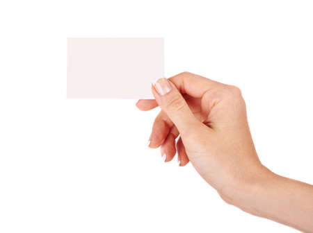 Female hand with a blank card isolated  photo