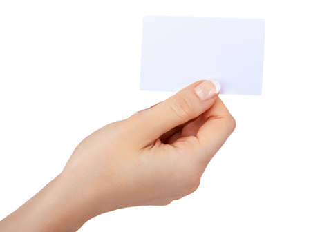 hand with a blank card isolated on white  photo