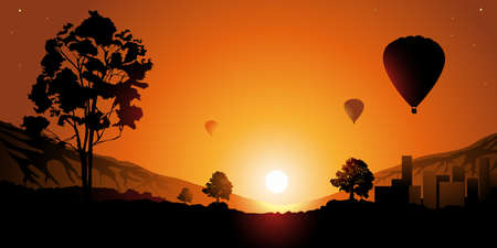 horizon over land: Colorful sunset  Balloons in the sky