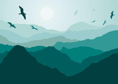 Vogels over de berg landmark Stock Illustratie
