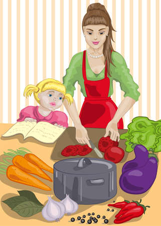 Mother and daughter are cooking Vector