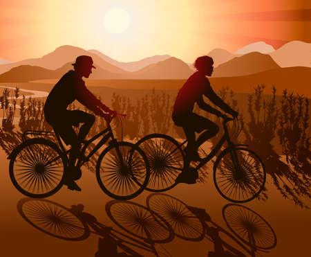 Mountain Biking Couple Stock Vector - 18384478