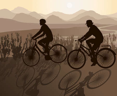 Mountain Biking Couple  Vector