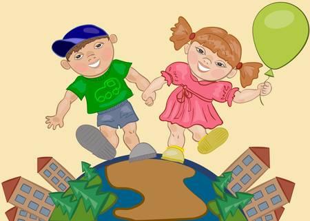 balloon girl: Smiling boy and girl Illustration