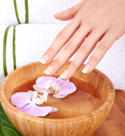 nail care: Hands Spa Manicure concept  Stock Photo