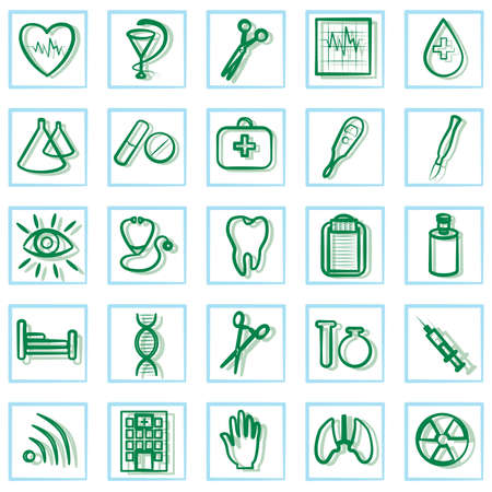 pulse trace: Medicine and Health vector icons