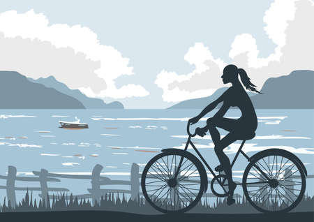 Biking on seaside Illustration