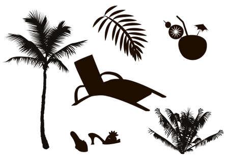 tranquil scene on urban scene: Set of silhouettes  Vacation   Illustration