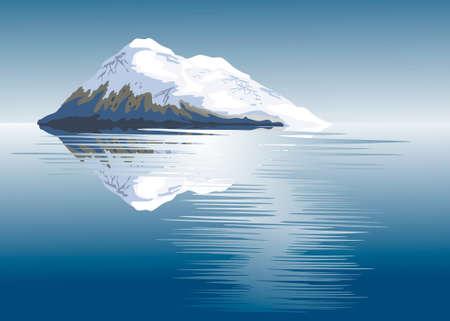 coberto de neve: A neve cobriu serra em um lago