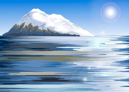 north pole: Snow covered mountain range on a lake