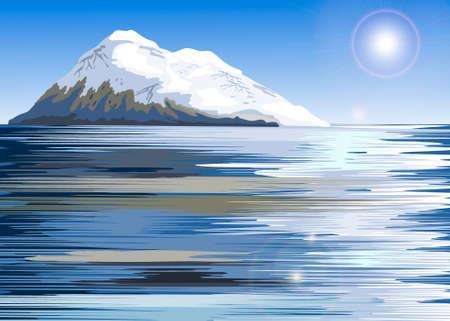 mountaintop: Snow covered mountain range on a lake