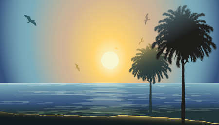 beach scene: Sunset in a beach