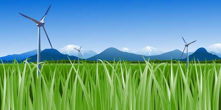 Vector Windenergieanlagen gegen den blauen Himmel und Schnee Tops