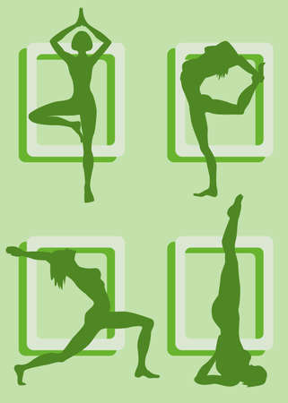 muscular build: Four silhouettes of girls practicing yoga Illustration