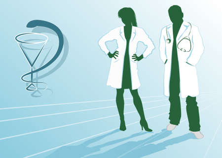 hospital gown: Silhouettes of doctors