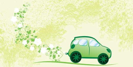 Milieuvriendelijke auto tegen de natuur achtergrond