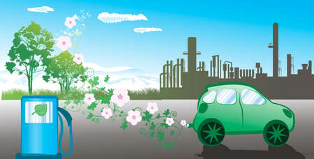 clean air: environmentally friendly car   Illustration