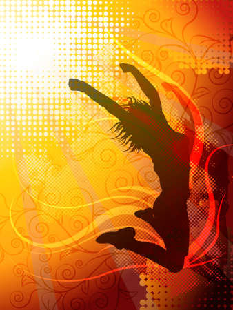 break dancer: Vector design of a woman jumping silhouette Illustration