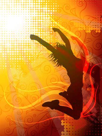 Vector ontwerp van een vrouw springen silhouet