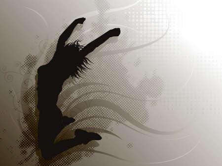 灰色の背景上の女の子をジャンプ  イラスト・ベクター素材