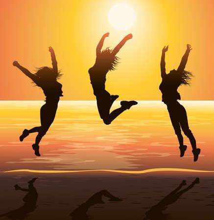 Beach Party, Jumping Silhouetten