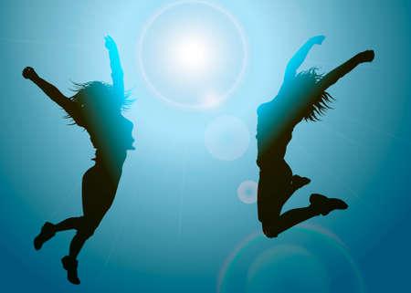 Silhouetten van springende meisjes Stock Illustratie