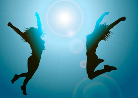 Silhouettes of jumping girls Vector