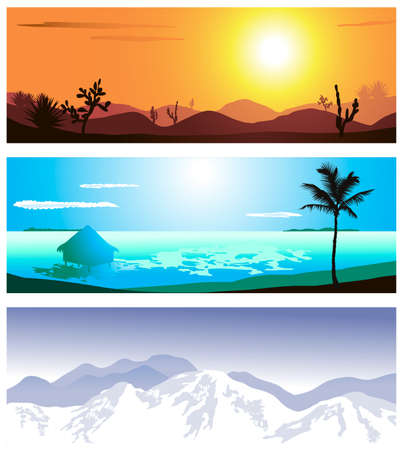 non urban scene: A series of illustrations of 3 geographical locations Illustration