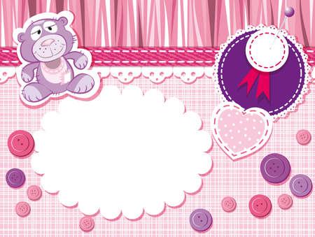Baby arrival card - Teddy bear Stock Vector - 18455880