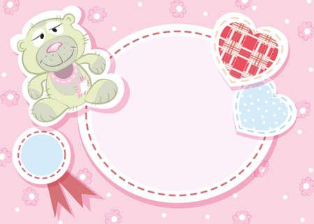 baby birth: Baby arrival card - Teddy bear Illustration